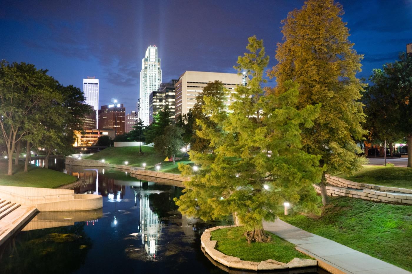 Omaha Nebraska Downtown City Park Skyline Dusk Night